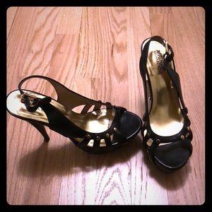 MICHAEL by Michael Kors Black & Gold Leather Heels